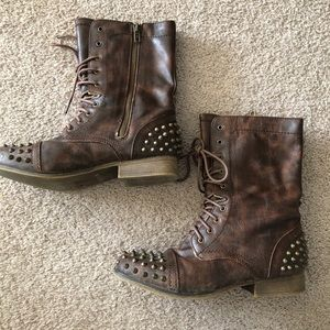 Studded brown leather combat boots